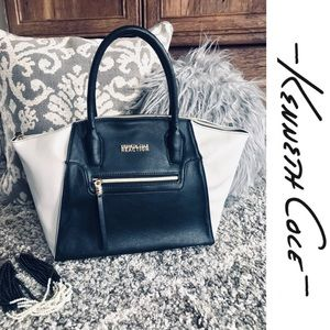 KENNETH COLE Large Leather Tote Bag - Black/White
